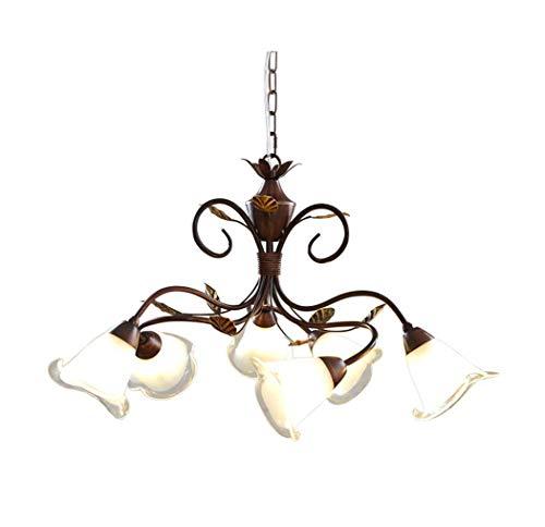 Yjmgrowing Bloemen Kroonluchter Plafond Licht met 6 Armen Rustieke Iron Hanger Plafond Lamp voor Nordic Elegant Eetkamer Keuken Island Bar Art Lighting, 110-240V (65×40cm)