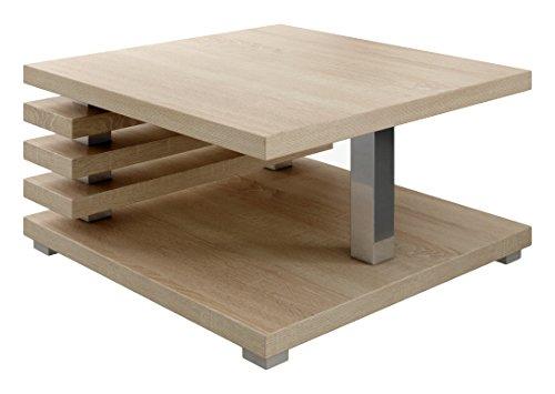 Oslo, tavolino da salotto da 60 cmx 60cm, in legno di rovere chiaro di Sonoma