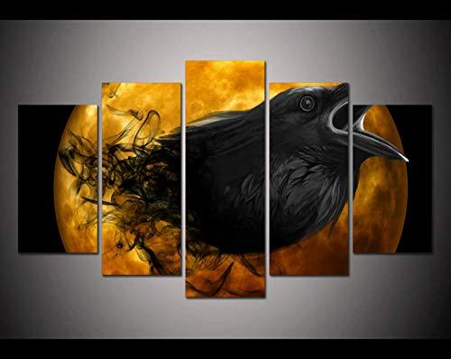 YB Print gekke Halloween zwarte vogel snabel wooncultuur muur kunstdruk schilderij canvas kunst 20x30cm-2p 20x40cm-2p 20x50cm-1p geen lijst