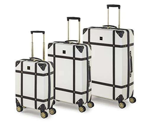 Rock Vintage Set of 3 Suitcases Retro 8 Wheel Spinner Luggage Cream