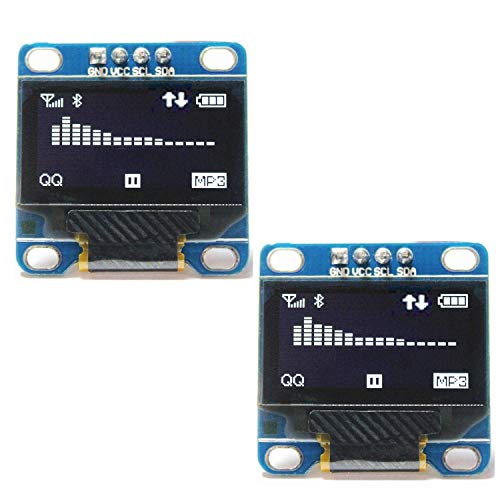"Qootec I2C OLED Módulo de Pantalla 0.96"" I2C Set of 2,OLED Display Module Blanca 128X64 for Arduino and Raspberry"
