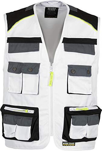 Work Team Chaleco Linea 5 Tipo Safari Combinado en 3 Colores, Vivos Reflectantes. Hombre Blanco+Negro+Gris Oscuro XXL