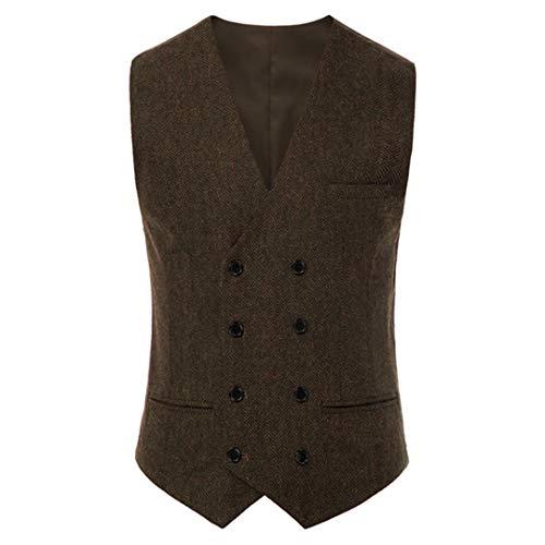 Chaleco de doble botonadura para hombre, chaleco con cuello en V, pañuelo dobladillo formal de oficina, fiesta de negocios masculina tops