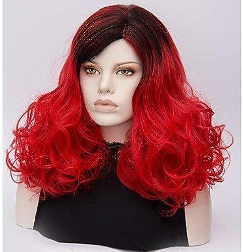 Perruque de Costume de Perruque Synthétique Moyenne Vague Profonde Rouge