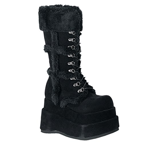 Demonia Damen BEAR-202 High Heels Stiefel Velourleder Schwarz 40 EU
