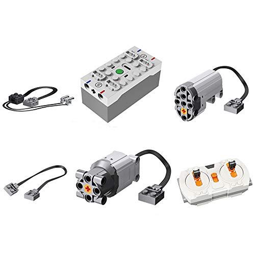 OviTop Technik Power-Funktions Set: 3 L Motor, 1 M Motor, 1 Servomotor, 1 Batteriebox, 3 Stromleitung, 2 LED Beleuchtungsset, 1 2.4G Fernbedienung, Kompatibel mit Lego Technik Ferngesteuertes Auto