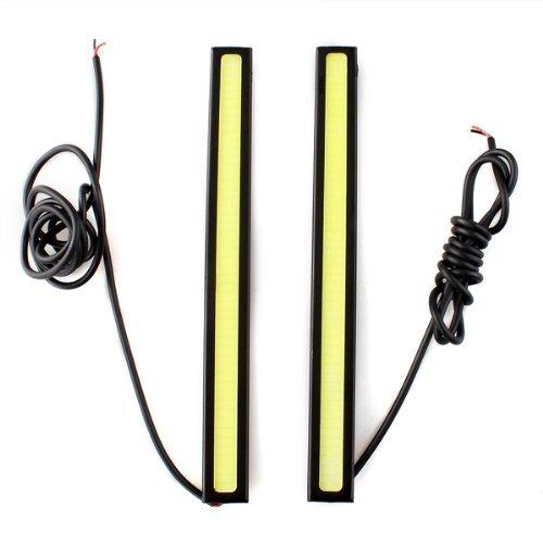 Sonline 2 x 5W DRL COB LED Ampoule Lampe Lumiere Feux de Jour Blanc DC 12V Voiture