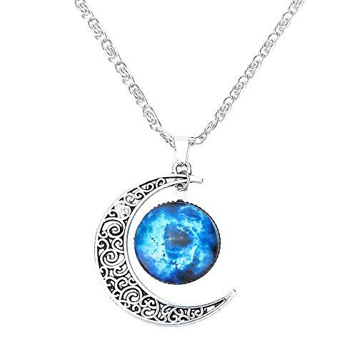 Collar Cadena Ajustable Colgante Luna Creciente Joyería Regalo para Mujer Moda Color Plata # 11