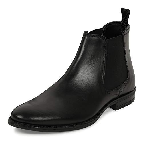 Red Tape Men's Black Leather Chelsea Boot-9 Kids UK (RTE3081)
