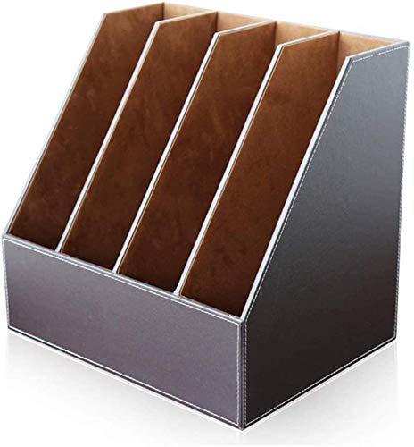 Archivo de archivador, archivo de archivo de la revista Rack Desktop Bookshelf 4 Sección Revista Rack Carpeta Divisor para suministros domésticos Material de oficina Organizador de almacenamiento o ac