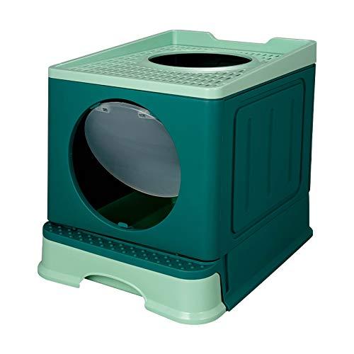 Renxiaoliangqhdz Mascota Inodoro Bedpan Gran Espacio Anti Splash Gatos Caja de Arena Plegable Gato WC Bandeja cajón Tipo Gato Grande estiércol Cuenca Mascotas Suministros limpios (Color : Green)