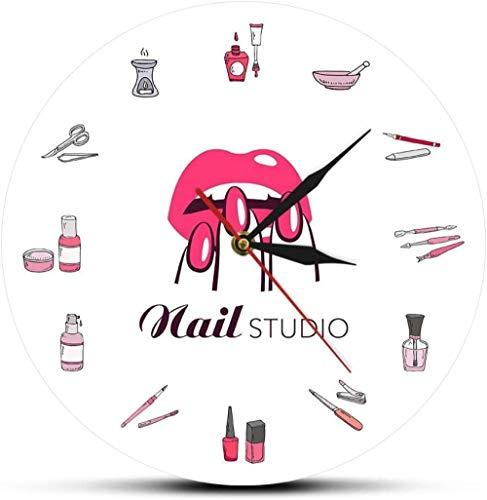 Reloj De Pared Botella De Esmalte De Uñas Y Accesorios Decoración Reloj De Pared Salón De Belleza Herramientas De Estudio De Uñas Reloj De Belleza Reloj De Pared Reloj 30X30 Cm
