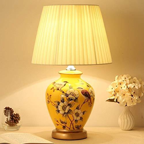Zenghh Klassische Vintage Art Keramik Tischlampe, Vase-Like-Tuch Lesebuch-Licht Schreibtischlampe Porzellan-Antike Blumen verzierte Nacht Birne Beistelltisch Montag Dresser