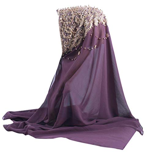 Lazzboy Plain Chiffon Muslim Hijab Schal Halstuch Damen Kopftuch Gesichtsschleier Glitzernder Turban Hidschab Diamanten Islamischen Abaya Dubai Frauen Ramadan Kopfbedeckung Bandana(B)