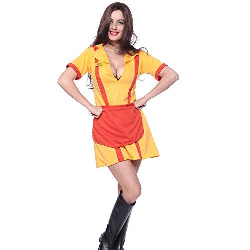 maboobie Deguisement Robe Sexy avec Tablier Serveuse Broke Girl TV Serie Cosplay Carnaval (XL(42-44))