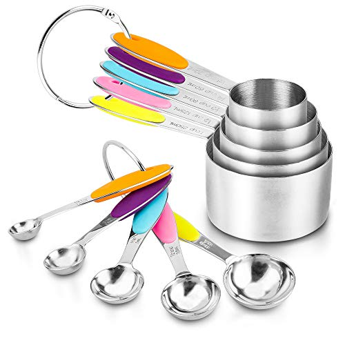 Measuring Spoons and Cups Set of 10 ENLOY Stainless Steel Measuring Cups amp Measuring Spoons with Soft Silicone Handles and Clearly Scale Nesting Liquid Measuring Cup Set or Dry Measuring Cups Set