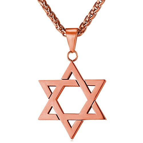 U7 Herren Collier Hexagramm Magen David Anhänger mit 3mm 60cm Weizenkette Rosegold vergoldet Davidstern Halskette religiöser Judischer Modeschmuck Geschenk für Judentum