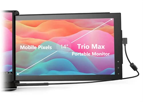 "Mobile Pixels Trio Max Portable Monitor (Upgraded 2.0 Version), The On-The-Go Dual-Screen Laptop Monitor, 14"" Full HD IPS Display, USB A/Type-C, Plug and Play, Sleek Design (Trio Max-1 pcs)"