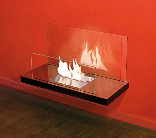 Radius Kamin WALL FLAME II hochglanz Glas klar, schwarz