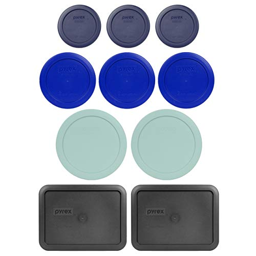 Pyrex (3) 7202-PC 1 Cup Blue (3) 7200-PC 2 Cup Cadet Blue (2) 7201-PC 4 Cup Muddy Aqua (2) 7210-PC 3 Cup Charcoal Grey Replacement Food Storage Lids