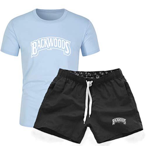EMPERSTAR Pantalones Cortos Estampados Casuales De Backwoods Pantalones De Natación para Hombre + Camiseta Sudaderas De Manga Corta para Pareja Azul Claro M