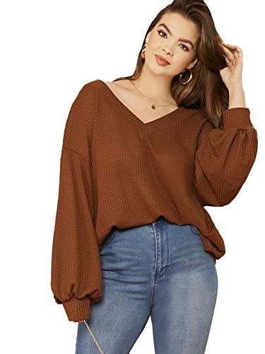Romwe Women's Plus Size Casual Drop Shoulder Lantern Long Sleeve V Neck Blouse Top Shirts Brown 1X Plus