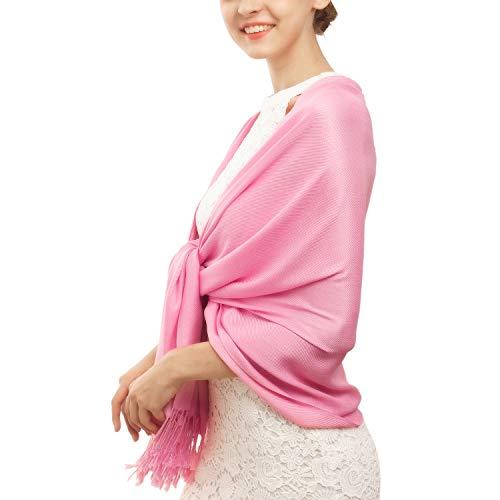 Women's Pashmina Blanket Scarf Shawl Wrap Cashmere Feel Scarves Bridal Christmas Gift (One Size, Z-Rose Pink)