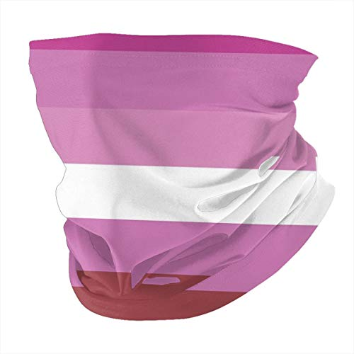 Lesbian Pride Flag Headwear,Head Wrap, Neck Gaiter, Headband, Fishing Mask, Tube Mask, Face Bandana with Safety Carbon Filters for Women Men 12 in 1 Face Cover Scarf for Travel, Cycling, Running