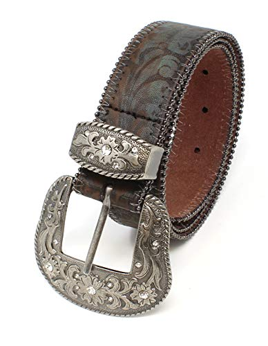Turquoise Tinted Embossed Brown Leather Belt 4