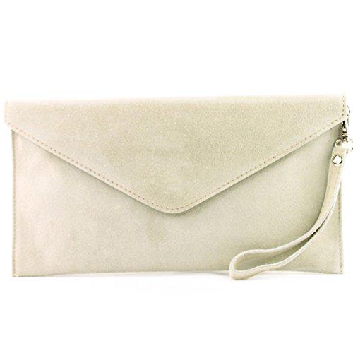 modamoda de - T106 - ital Clutch Abendtasche aus Wildleder, Farbe:Creme