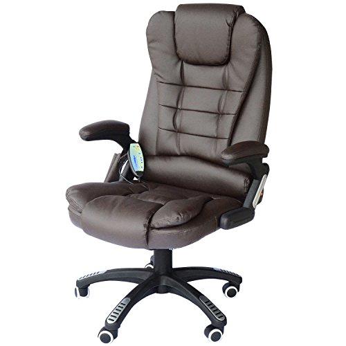 HOMCOM Bürosessel Bürostuhl Chefsessel Gamingsessel Massagesessel 6 Punkt Vibrations Massage mit Wärmefunktion drehbar (braun)