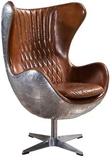 Plata Aviator Spitfire Leather Egg Chair