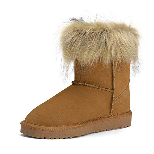 DREAM PAIRS Girls Faux Fur Lined Winter Ankle Snow Boots Chesnut Size 11 Little Kid Fluffy-k