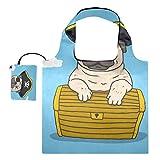 XiangHeFu Bolsas de compras reutilizables para regalo de comestibles, gran capacidad, plegable, encantador pirata, cofre del tesoro Happy Pug