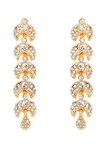Touchstone de la aleación tradicional india Blanco Rhinestone largo que cuelgan la joyería del diseñador pendientes de oro de tono para las mujeres
