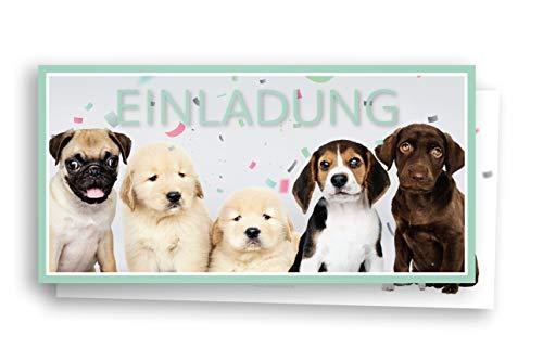 Friendly Fox Welpen Einladung - 12 Hunde Einladungskarten zum Kinder-Geburtstag Junge Mädchen - Einladung Tiere Hunde Geburtstag - inkl. passende Umschläge