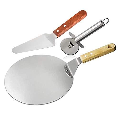 Fransande - Herramienta de pizza para cortar pizza en tres piezas, Cro?Te para pizza, pala 3 en 1, mango de madera, herramienta única