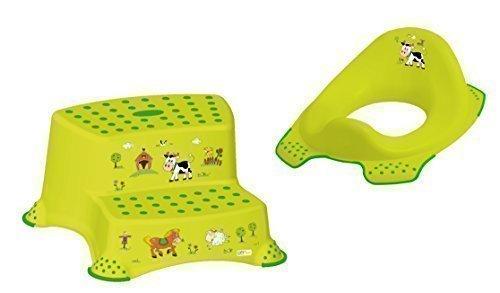 2er Set Z Funny Farm grün WC Aufsatz + Hocker zweistufig Toilettentrainer