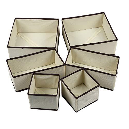 Gesh - Set di 6 contenitori pieghevoli per biancheria intima, cassetti, divisori, reggiseni, calzini, lavabili e pieghevoli, per la casa, senza tessuto beige