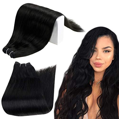 RUNATURE Echthaar Tressen zum Einnähen 22 Zoll Farbe 1 Pechschwarz 55cm Echthaar Tressen Schwarz Lang Haartressen Echthaar 100g 1 Stück Haarverlängerung Weaving