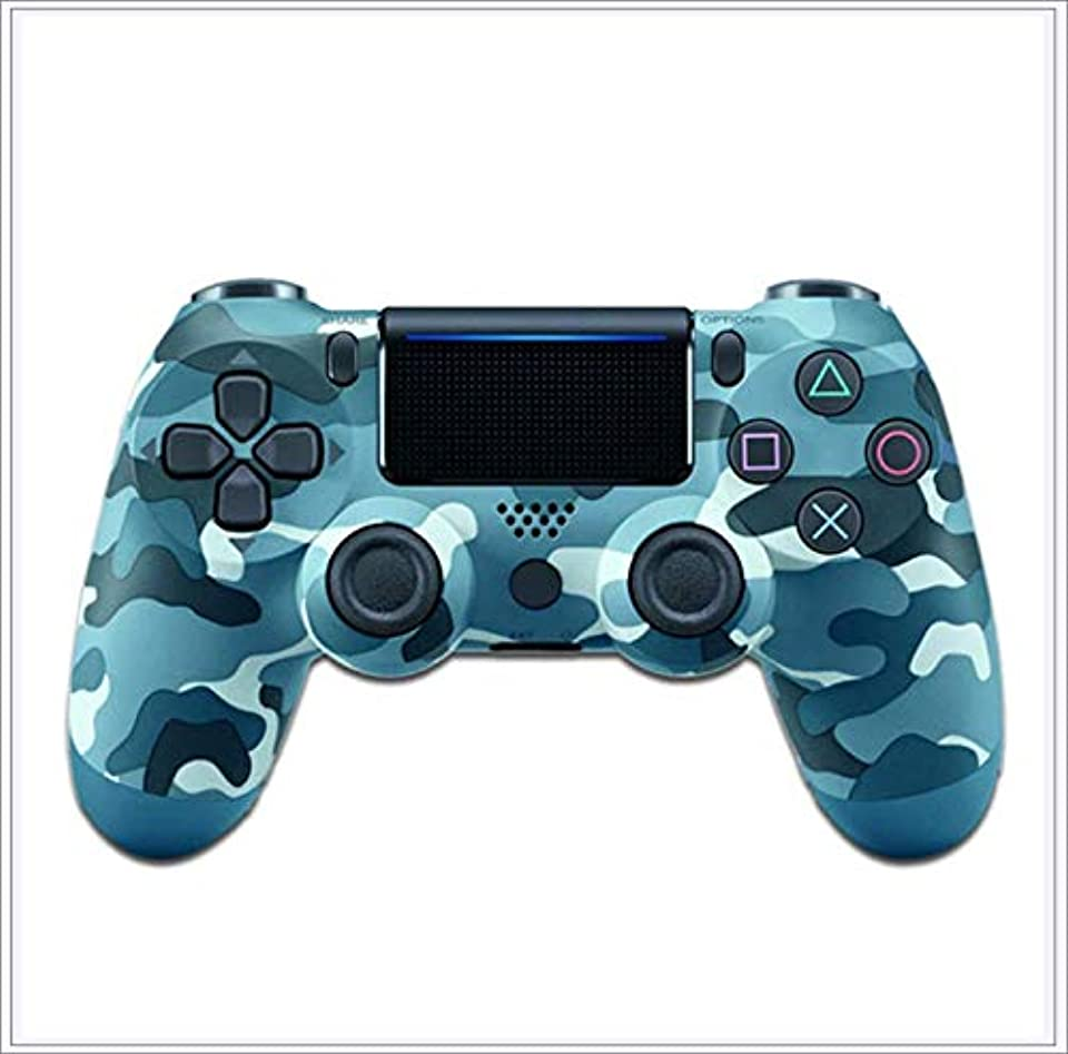 JayQm Bluetooth-Gaming-Controller für PS4, Controller Joystick Wireless Gamepad für Playstation 4, Doppel-Vibrationsmotor, LED-Lichtleiste, rutschfester Griff – Camouflage blau