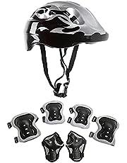 JKKJ zwart Kids Fietshelm Peuter Helm Skateboard Beschermende Gear Set voor Leeftijd 3-8 Jongens Meisjes Kinderen Knie Pads Elleboog Pads Polsbeschermers voor Roller Skate Fietsen Scooter