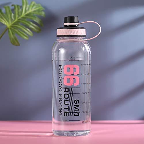 QAZW Botellas Deportivas,Botella de Agua con Marcador de Tiempo,Botellas de Agua con Marcador de Tiempo,Botellas Duraderas,para Gimnasio, Colegio, Viaje de Trabajo,Pink-1.5L