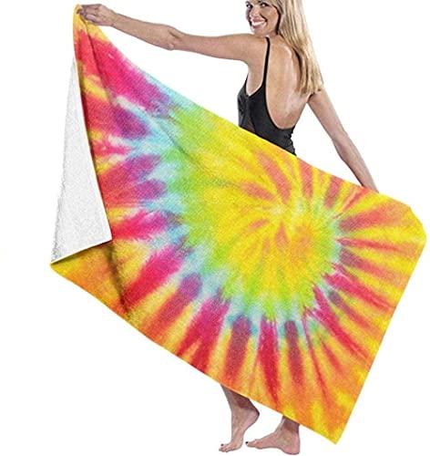 Toalla de Playa La Elegante Toalla de baño de hidromasaje Naranja con Efecto Tie Dye es súper Masculina y Femenina, Adecuada para Nadar, Viajar en Aguas Termales, Hacer Yoga, Acampar, Tomar el Sol e