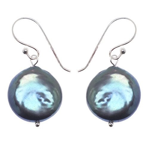 Chic-Net grün-lila schillernd Perlen Ohrringe rund Linse 925er Sterling Silber Perlenohrringe