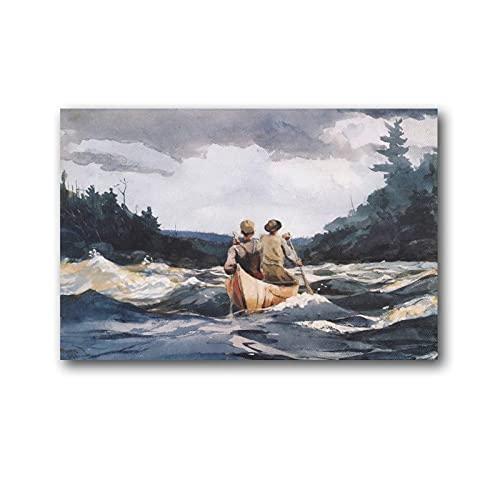 Winslow Homer - Póster de canoa en los rápidos (50 x 75 cm)