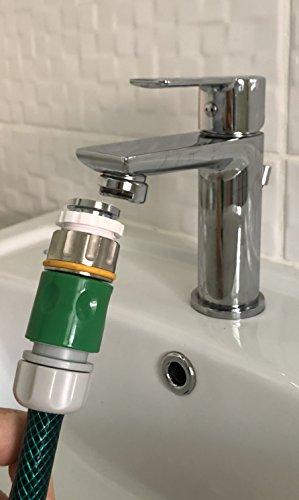 Preisvergleich Produktbild Wasserschlauch auf Wasserhahn Adapter und Perlator,  für warmes Wasser im Garten,  24 mm Stecker und 22 mm Buchse,  auch passend für Duschschlauch