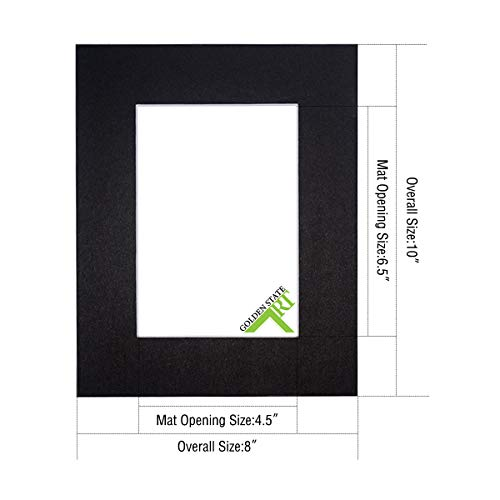 Golden State Art, Pack of 50 8x10 Black Picture Mat Mattes with White Core Bevel Cut for 5x7 Photo + Backing + Bags