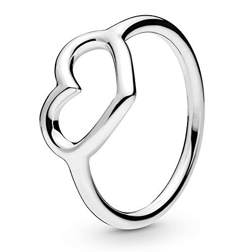 Pandora Jewelry Polished Open Heart Sterling Silver Ring, Size 8.5