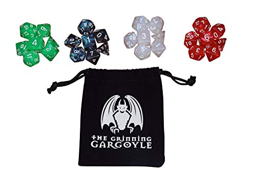 Aurora Borealis x28 DnD Dice Set – Dungeons and Dragons Dice Set with Free Drawstring Bag – D&D D20 RPG MTG Tabletop Roleplaying Polyhedral Role Play - Grinning Gargoyle 5001 Northern Lights (Aurora)